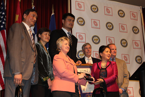 February 15th, 2013 - Yao Ming is presented a key to the city with his mother and father standing by his side