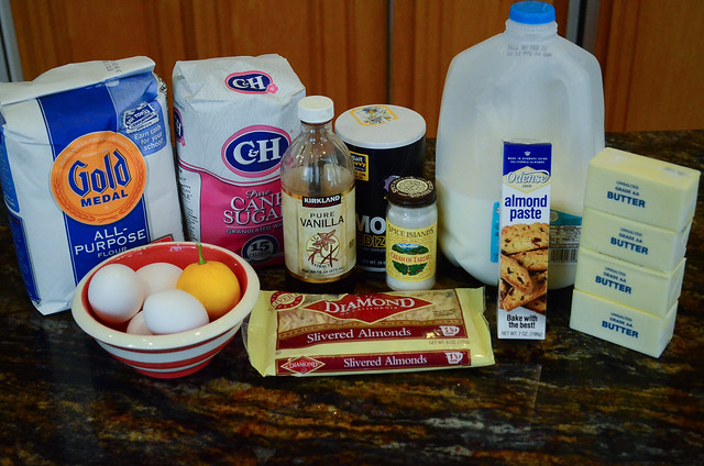 All the required ingredients to make Almond Crunch Pound Cake.