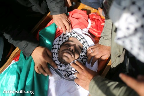 The body of Arafat Jaradat minutes before his funeral