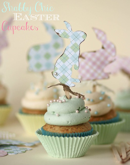 Shabby Chic Easter Cupcakes with Bunny toppers