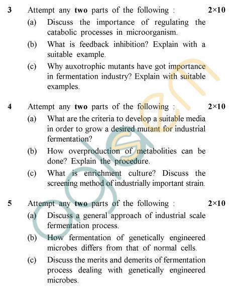 UPTU B.Tech Question Papers -TBT-603 - Fermentation Biotechnology