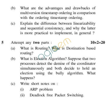UPTU B.Tech Question Papers - CS-801-Distributed System