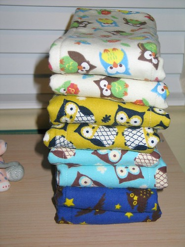 Owl Diaper burp cloths