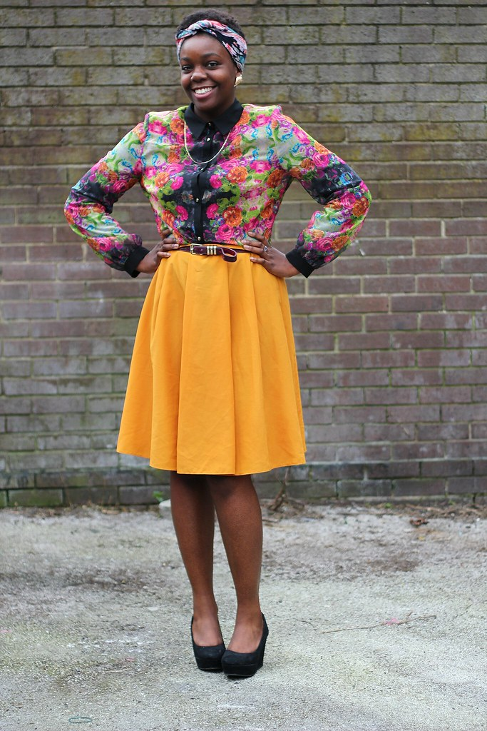 floral blouse, yellow skirt, wedges, headgear, floral prints, how to wear a floral blouse, floral blouse