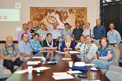 <p>University of Hawaii President M.R.C. Greenwood, Department of Homeland Security Deputy Undersecretary of Science and Technology Daniel Gerstein and UH's Center for Island, Maritime and Extreme Environment Security at a visit to Iolani School in March 2013. (Photo courtesy of Iolani School)</p>