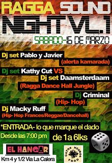 flyer ragga sound night 2013-03-16 en EL HANGAR | gatosnegrosprod