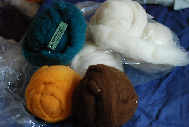 Polypay wool roving in natural and dyed colors from Etsy