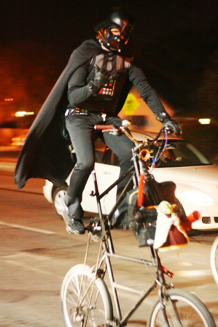 DARTH VADER RIDES A TALL BIKE