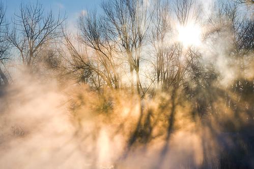 morning blue winter orange snow fog sunrise golden colorado unitedstates steam sunburst sunrays creeks waterscapes clearcreek