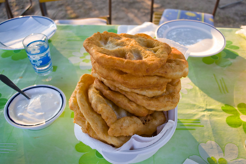 Freshly fried langos