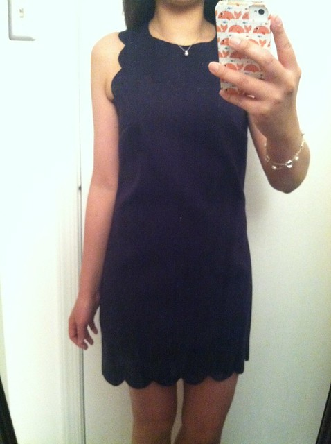 J.Crew scalloped dress, 00p in navy