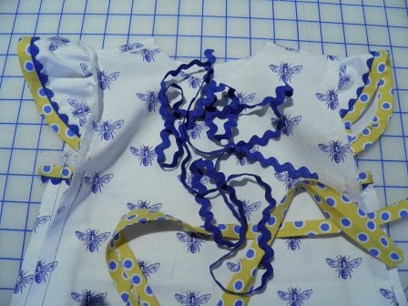Blue Bee Dress closeup