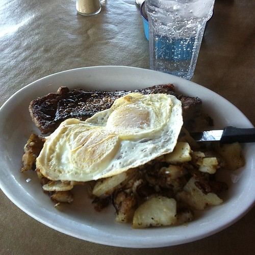 Steak and eggs at Tasty Tom's, sans toast. #yegfood by raise my voice