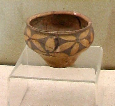 Prehistorical bowl from China with a flower design