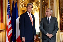 U.S. Secretary of State John Kerry meets with French Foreign Minister Jean-Marc Ayrault at the French Ministry of Foreign Affairs in Paris, France on July 30, 2016. [State Department Photo/Public Domain]