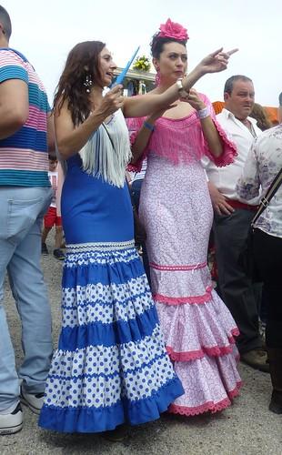 Romeria in Pruna: ladies in flamenco dress