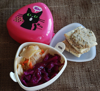 Kimchee, purple sauerkraut, and fresh made chia crackers