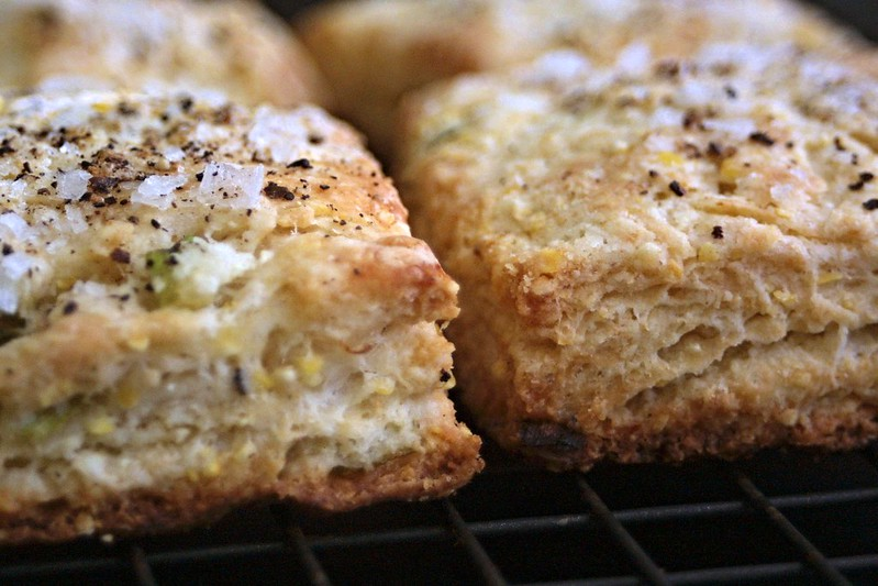 Flaky biscuits, topped with salt and pepper