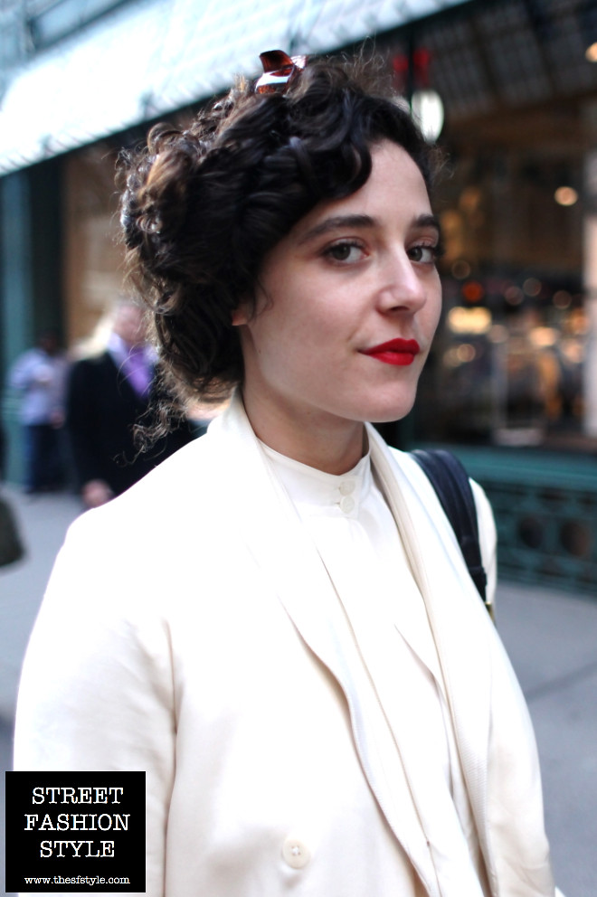 red lipstick, asymmetrical, blouse, new york fashion blog, street fashion style, The SF Style,