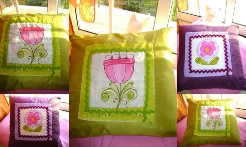 Almofadas com aplique de Pintura em Tecido by Ana Tarequita