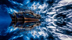 [Free Images] Transportation, Ships, Blue Color, Reflect ID:201301170000