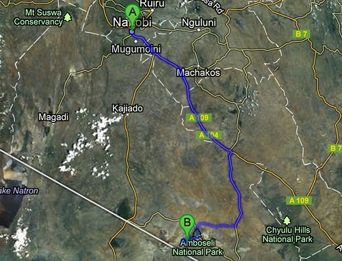Route Nairobi - Amboseli