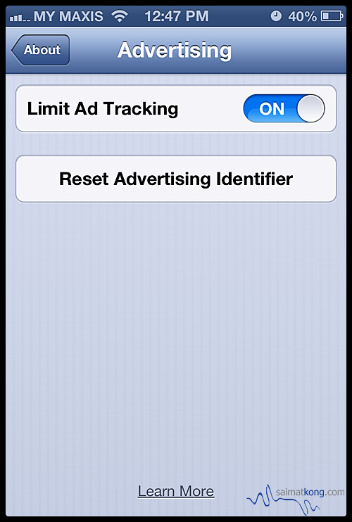 Apple iOS6.1 : This attractive button now lets you reset the token used to identify you to advertisers.
