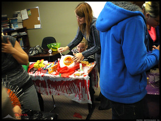 2012 Reeves College Calgary North Campus Staff and students carving pumpkins side by side