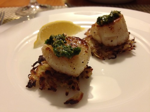 Seared Scallops on Potato Pancakes