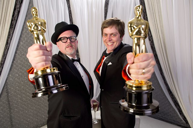 William Joyce and Brandon Oldenberg proudly show off their 2012 Oscars for their short film 'The Fantastic Flying Books of Mr. Morris Lessmore'.