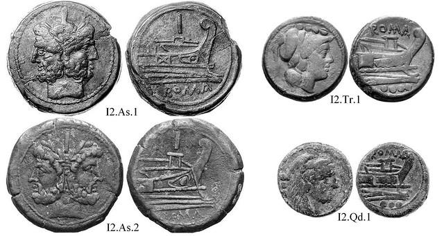 I2 Roman Republican Anonymous struck bronzes McCabe group I2, Uncertain, broad flans, complex deck structures, perhaps Apulia, 40 gram As.