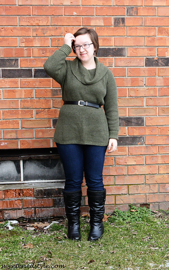 green tunic, leggings, boots