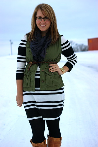 striped dress, vest, boots