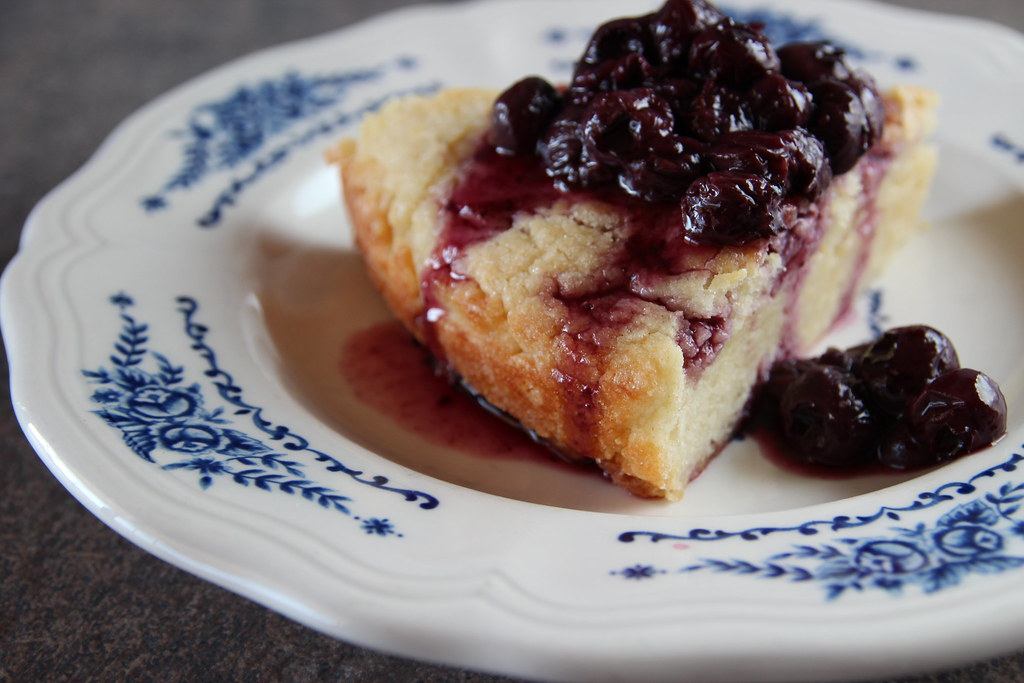 Yogurt Cake with Blueberry Compote
