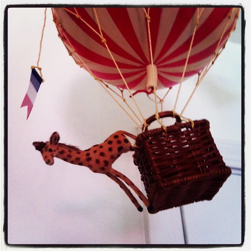 German Giraffe Riding in a French Hot Air Balloon Wagner Flocked Animal