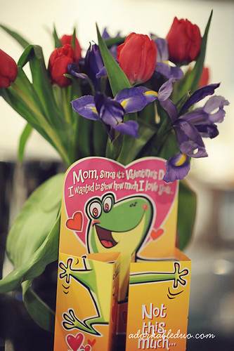 valentines day flowers and card from baby boy to mother