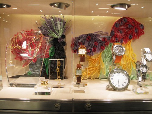 Quilled Mushrooms and Luxury Items in an Hermès Store Window Display