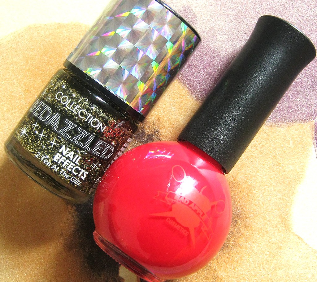 A picture of Collection bedazzled nail effects in 2 tea at the glitz.  A picture of Badapple nail polish.