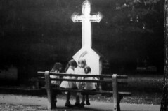 Girls playing in the cemetery of Bratislava, Slovakia