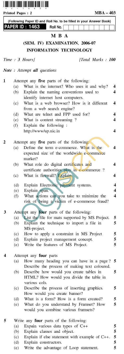 UPTU MBA Question Papers - MBA-403-Information Technology