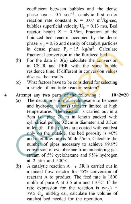 UPTU: B.Tech Question Papers -TCH-602 - Chemical Reaction Engineering-II