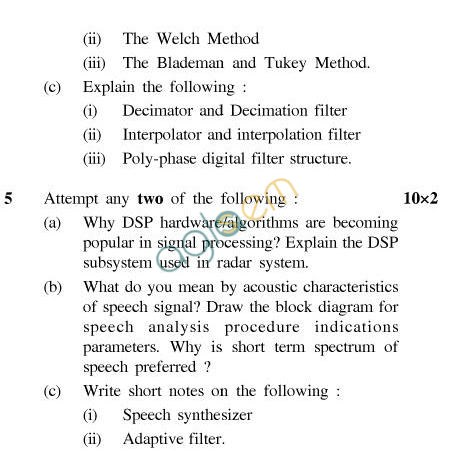 UPTU B.Tech Question Papers - EC-801-Digital Signal Processing