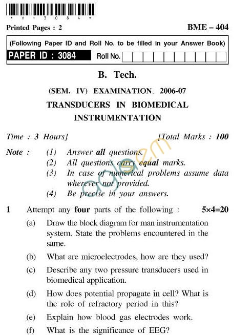 UPTU B.Tech Question Papers - BME-404-Transducers in Biomedical Instrumentation