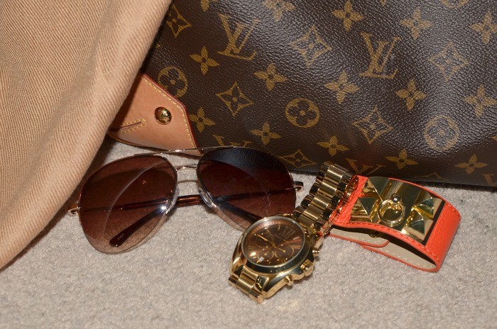 Fabulous 30s; Michael Kors watch; Louis Vuitton bag; Simons sunglasses