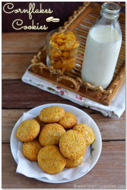 Eggless Cornflakes Cookies Recipe