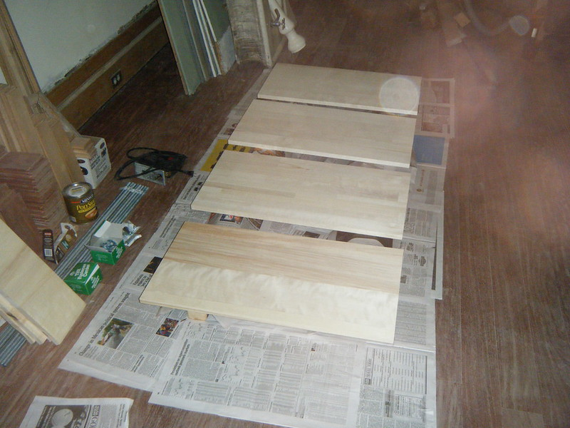 Preparing to finish wood for shelves