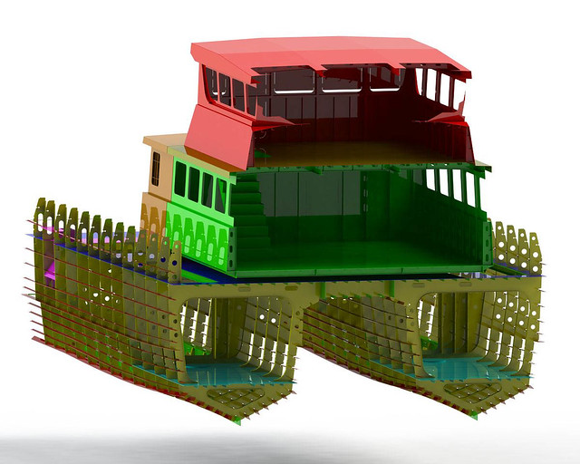 Cross section through aluminium catamaran workboat