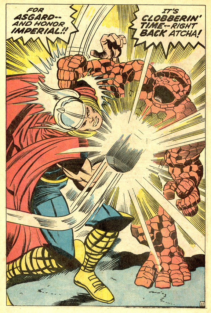 Fantastic Four 73 The Thing vs Thor splash 1968 Kirby