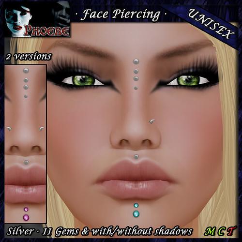 P Unisex Face Piercing Q5 ~Silver-11 Gems~
