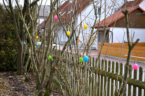 Easter Eggs in bushes